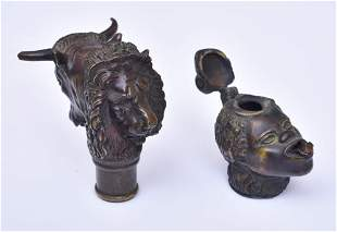 Bronze Finial and Oil Lamp