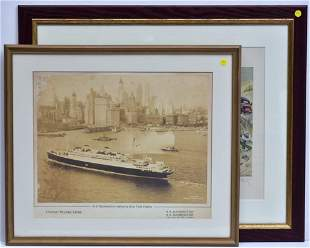 Auto Racing and Ship Lithographs