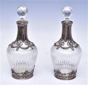 Pair French .850 Silver Overlay Cruet Bottles