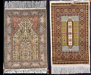 Two Silk Prayer Rugs