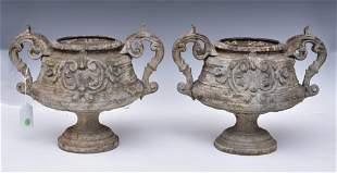 Pair French Belle Epoque Cast Iron Urns