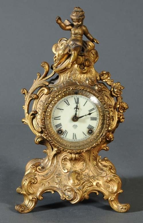 "1: ANSONIA GILT MANTLE CLOCK 13"" high"