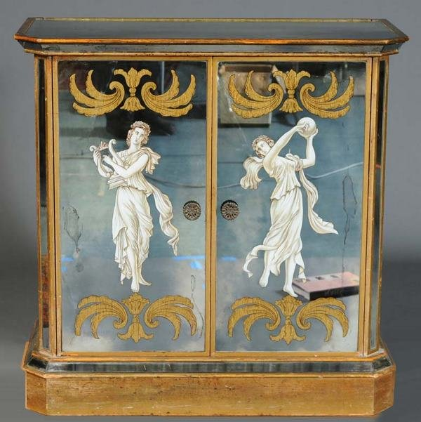 "6: MIRRORED BAR CABINET with classical motif 36""x 36""x"
