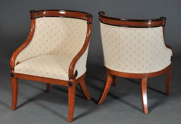 "8: PAIR BIEDERMEIER STYLE TUB CHAIRS 34"" high 20th cent"