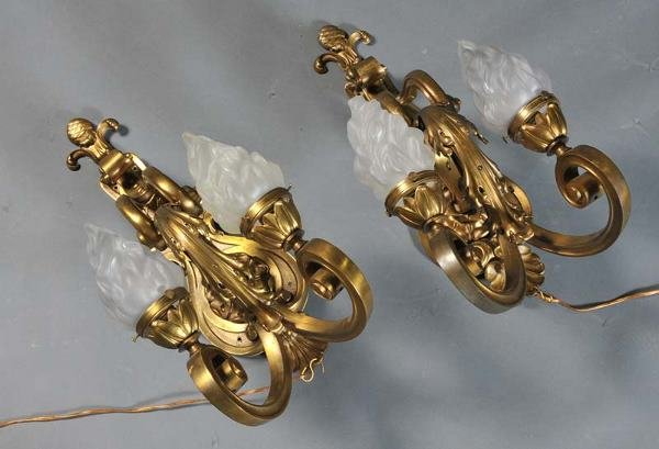 "9: PAIR BRONZE RENAISSANCE REVIVAL SCONCES 28"" high ear"