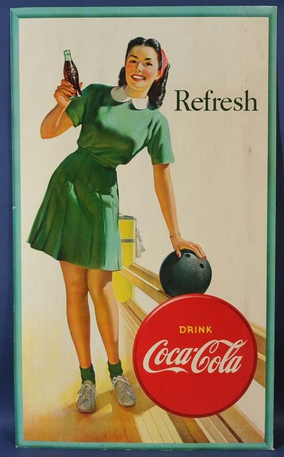 "14: COKE SIGN BOWLING GIRL 50""x 29 1/2"" litho on board"
