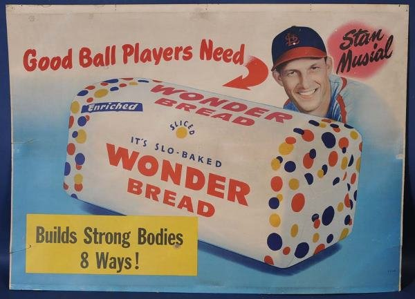 "15: STAN MUSIAL WONDERBREAD SIGN 32""x 44"" litho on boar"