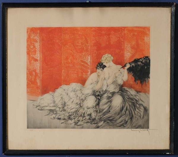"18: LOUIS ICART Mockery 15""x 18 1/4"" aquatint pencil si"