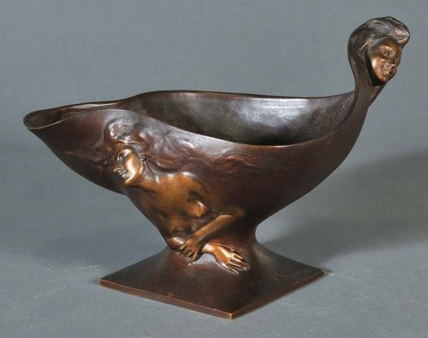20: GEORGES ENGRAND Art Nouveau Figural Bronze Bowl 8 1
