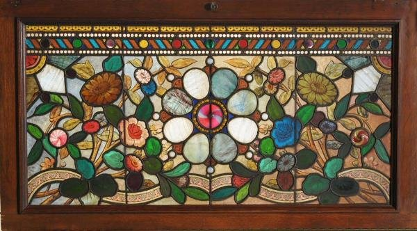 "22: PAIR OF VICTORIAN STAINED GLASS WINDOWS 21""x 42"" ea"
