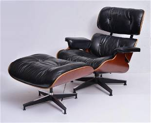 Eames Black Leather Lounge Chair and Ottoman