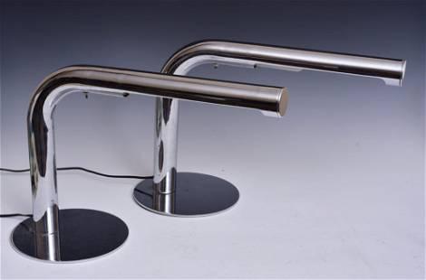 Pair of Sonneman Chrome Table Lamps
