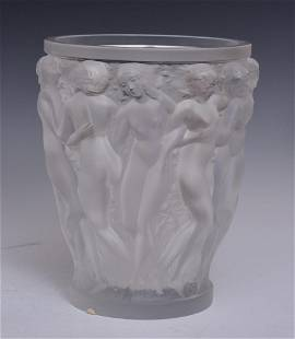 Lalique Frosted Crystal Bacchantes Vase