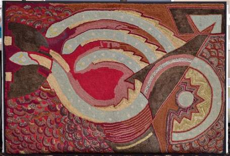Victorian Folk Art Hooked Rug
