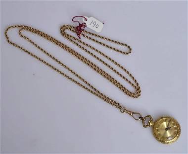 18k Gold Ladies Pocket Watch on 14k Gold Chain