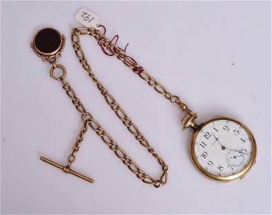 14k Gold Waltham Pocket Watch and 14k Gold Fob