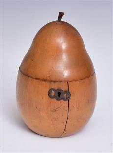 English Georgian Pear Form Fruitwood Tea Caddy