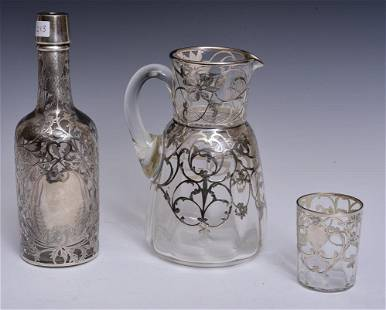 Victorian Silver Overlay Pitcher and Bottle