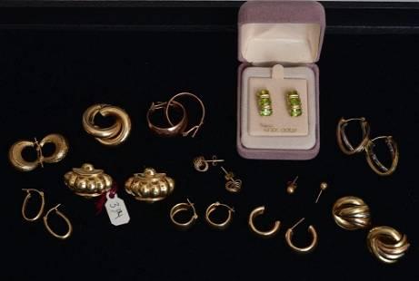 14k Gold Earrings (12 Pairs)