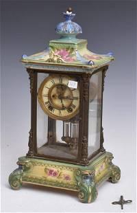 Ansonia Porcelain Crystal Regulator Clock