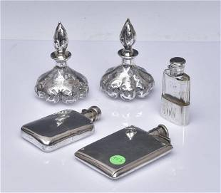 Sterling Silver Flasks and Silver Overlay Perfumes