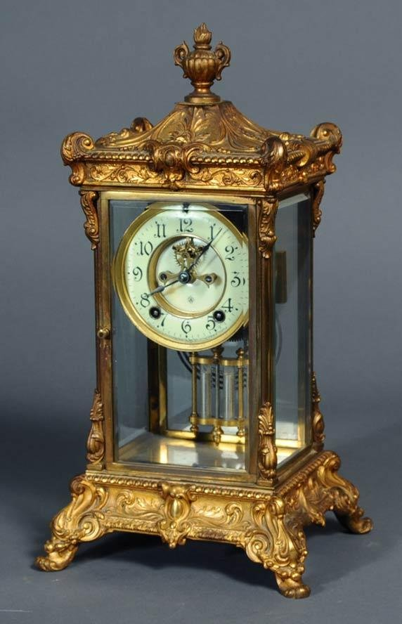 7: ANSONIA CRYSTAL REGULATOR with ornate gilt metal cas