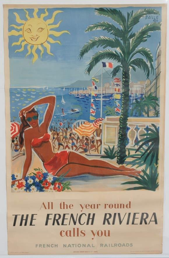 21: TRAVEL POSTER Hubert Baille & Cle. The French Rivie