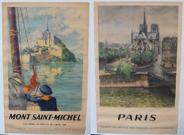 23: PAIR OF FRENCH TRAVEL POSTERS Paris and Mont Saint-
