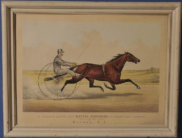 """82: CURRIER & IVES STONE LITHOGRAPH Hattie Woodward 27"""""""