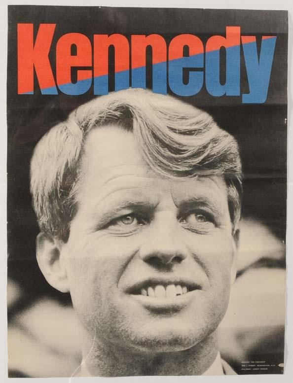 """3: ROBERT KENNEDY CAMPAIGN POSTER 16""""x 12"""" 1968"""