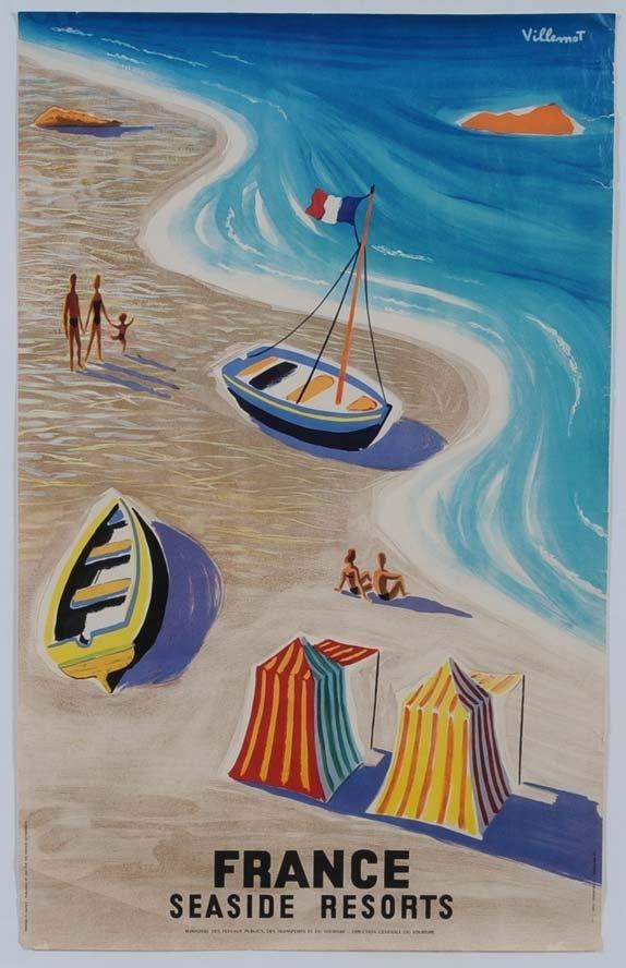 9: FRENCH TRAVEL POSTER Villemont, Seaside Resorts publ