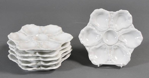"12: GROUP OF SIX OYSTER PLATES 8 1/2"" diameter circa 19"