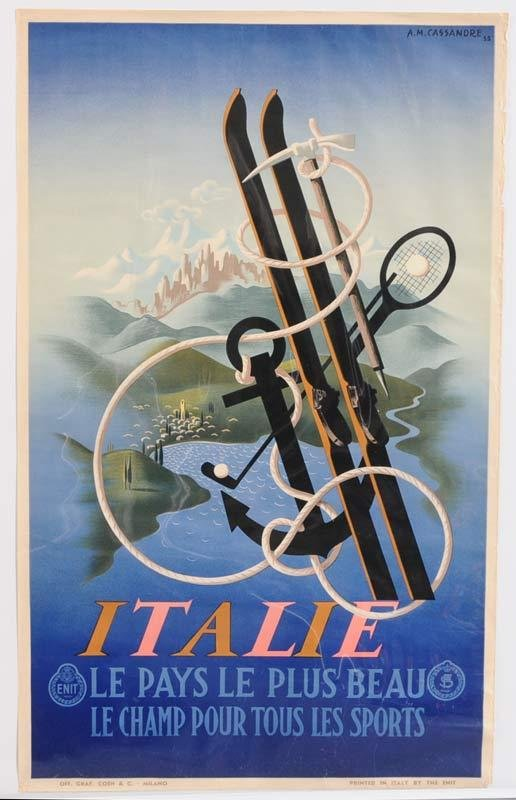 "17: A.M. CASSANDRE TRAVEL POSTER Italie 39 1/2"" x 24"" 1"