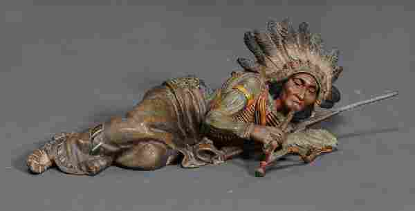 CARL KAUBA Cold Painted Bronze of an Indian Chief S