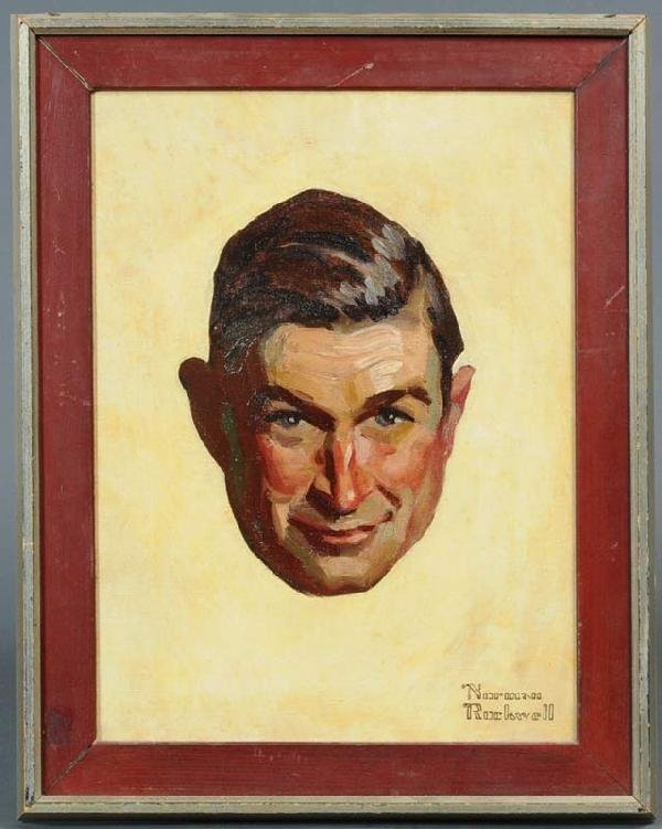"165: NORMAN ROCKWELL Study of Will Rogers 16"" x 12"" oil"