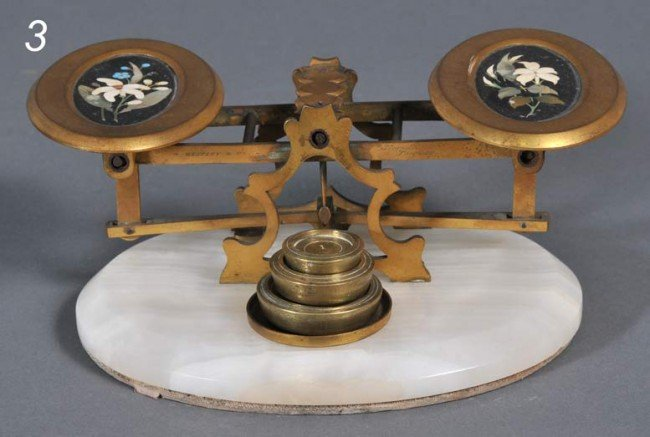 3: VICTORIAN BALANCE SCALE with pietra dura panels sign