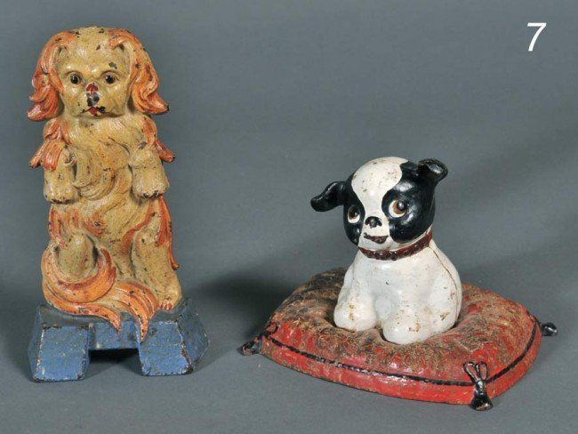 """7: PAIR OF CAST IRON DOG DOORSTOPS 9"""" and 5 1/2"""" high e"""