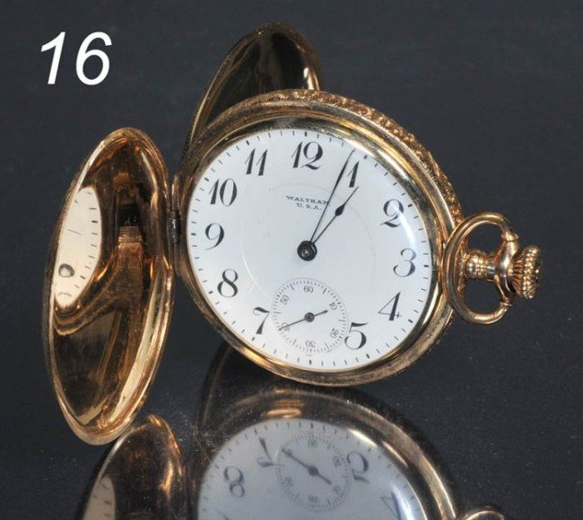 16: WALTHAM 14KT GOLD POCKET WATCH with engraved hunter
