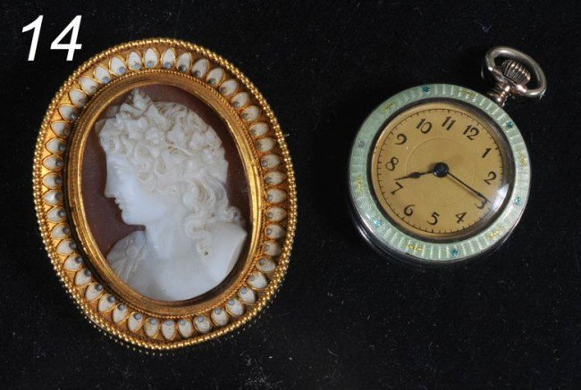 17: VICTORIAN CAMEO BROACH together with FRENCH ENAMELE