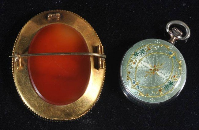 17: VICTORIAN CAMEO BROACH together with FRENCH ENAMELE - 2