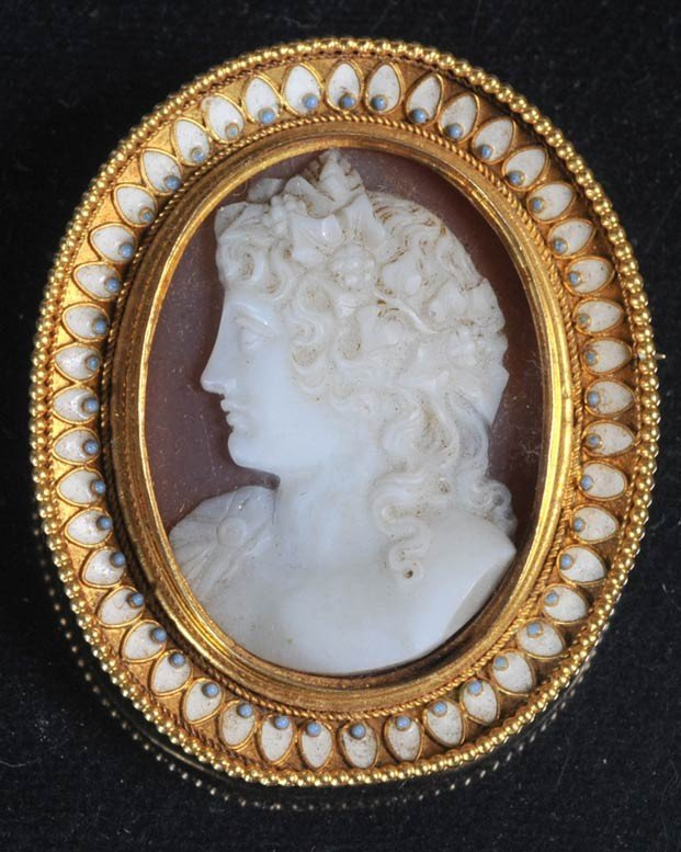 17: VICTORIAN CAMEO BROACH together with FRENCH ENAMELE - 3