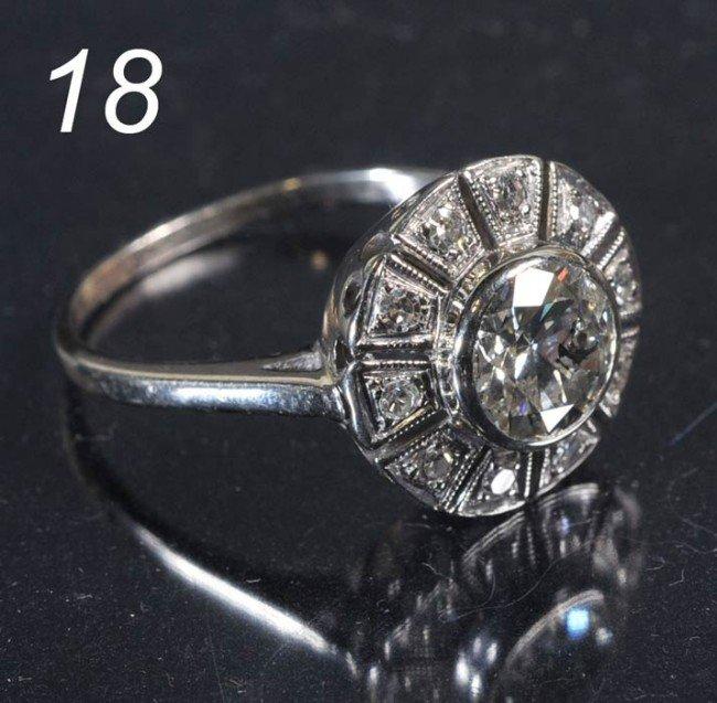 18: 14KT WHITE GOLD DIAMOND RING