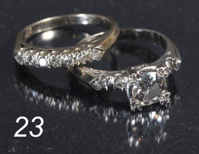 23: 14K WHITE GOLD WEDDING SET approx. 1ct center stone