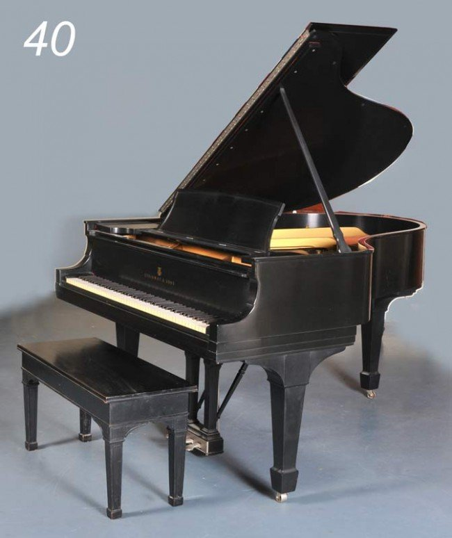 40: STEINWAY MODEL O GRAND PIANO with black satin finis