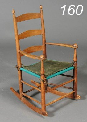 "CHILD'S SHAKER ROCKER Stamped ""1"" 28 1/2"" High Ear"
