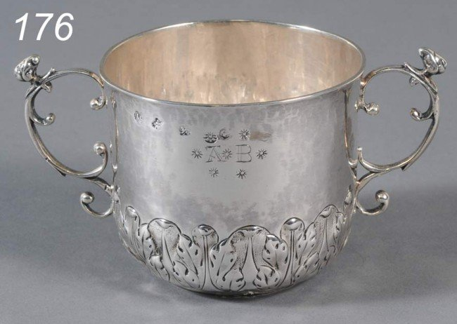 """176: CHARLES II STERLING CAUDLE CUP hallmarked """"IC"""" Lon"""