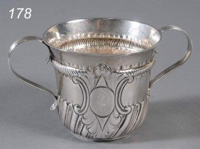 GEORGE II STERLING CAUDLE CUP Hallmarked R. Bayley