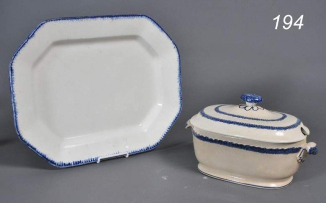 """194: CREAMWARE PLATTER AND TUREEN Leeds, 18"""" and 13"""" lo"""