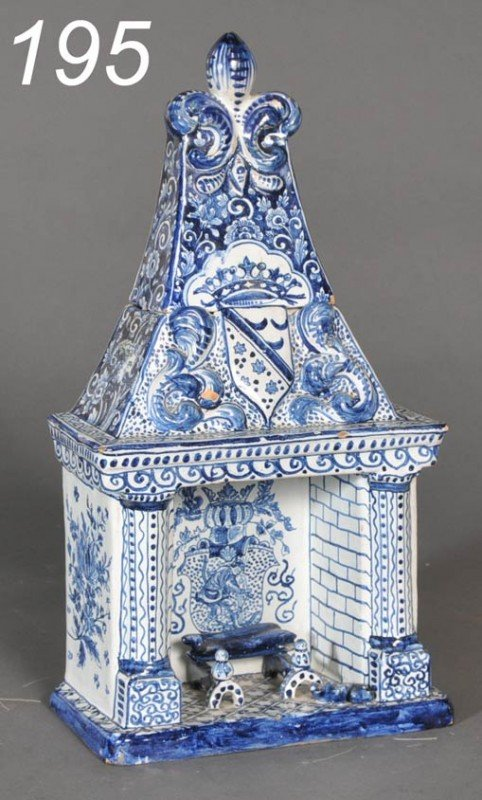 195: FRENCH FAIENCE MANTLE BOX in the form of a firepla