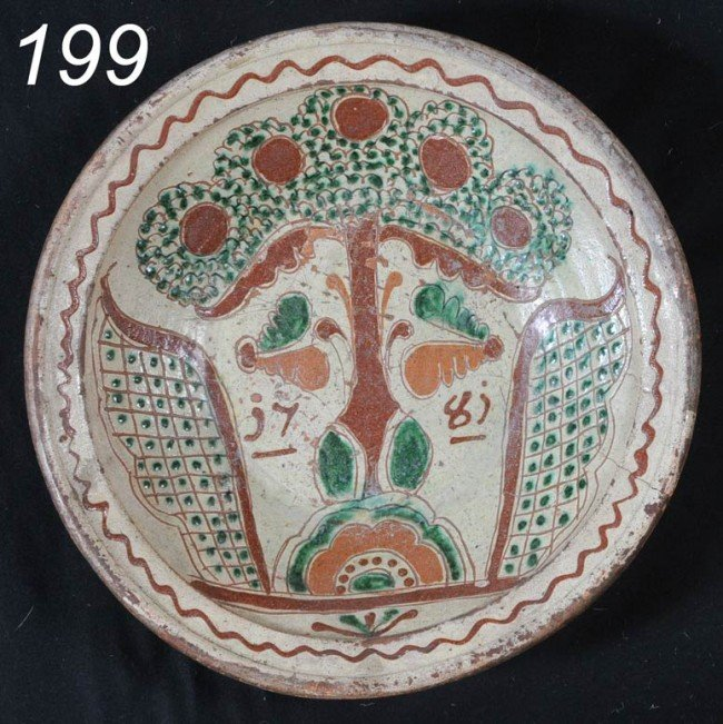 """199: GERMAN SGRAFITTO PLATTER decorated with a tree 13"""""""